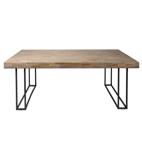 Wonenmetlef Dining table Indy natural brown gray wood metal 200x100x78cm