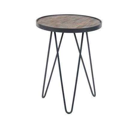Wonenmetlef Table d'appoint Sil marron gris antique bois métal Ø38x50cm