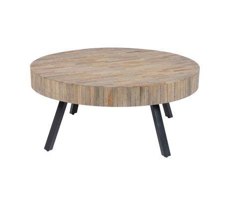 Wonenmetlef Tavolino Seth rotondo in metallo naturale marrone legno Ø90x40cm