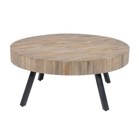 Wonenmetlef Mesa de centro Seth redonda metal madera marrón natural Ø90x40cm