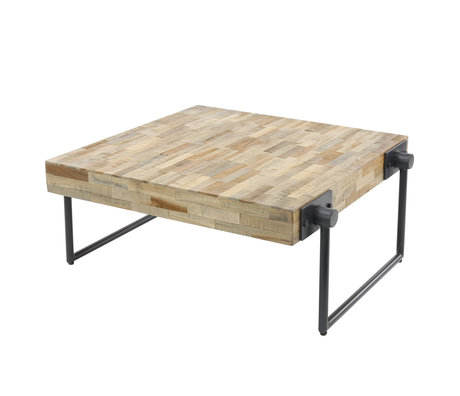Wonenmetlef Coffee table Scott natural brown gray wood steel 70x70x33cm