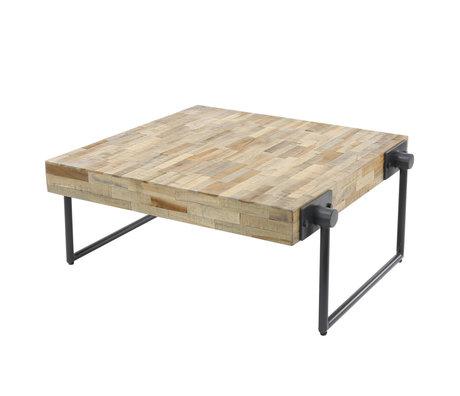 Wonenmetlef Table basse Scott naturelle en bois brun gris acier 70x70x33cm