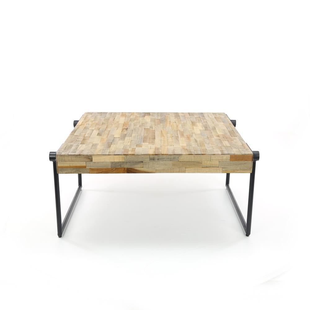 Wonenmetlef Couchtisch Scott natur braun grau Holz Stahl 70x70x33cm