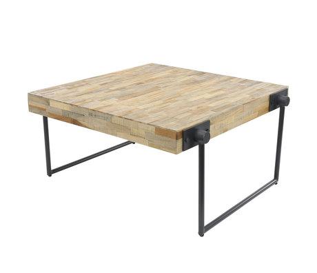 Wonenmetlef Tavolino da salotto Scott naturale marrone grigio acciaio legno  80x80x43cm