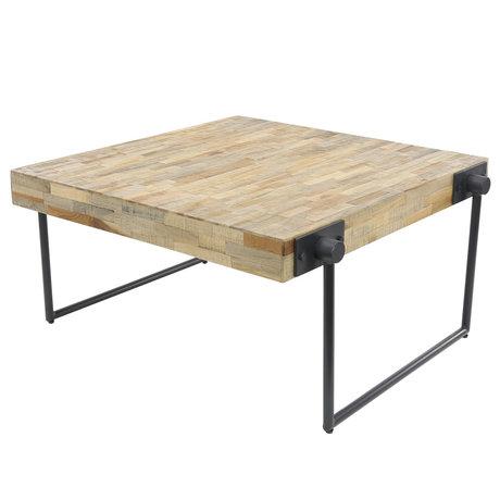 Wonenmetlef Table basse Scott naturel en bois brun gris acier 80x80x43cm