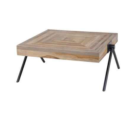 Wonenmetlef Coffee table Sue brown gray teak steel 70x70x33cm