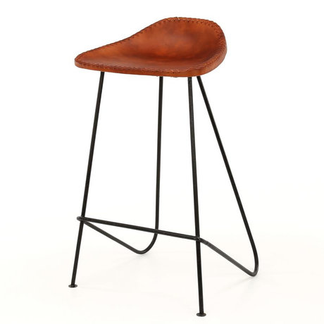Wonenmetlef Bar stool Flo cognac brown leather metal 45x35x77cm