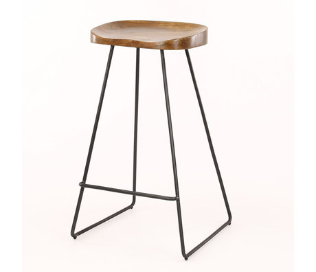 Wonenmetlef Bar stool Dave natural brown black wood metal 37x29x71cm