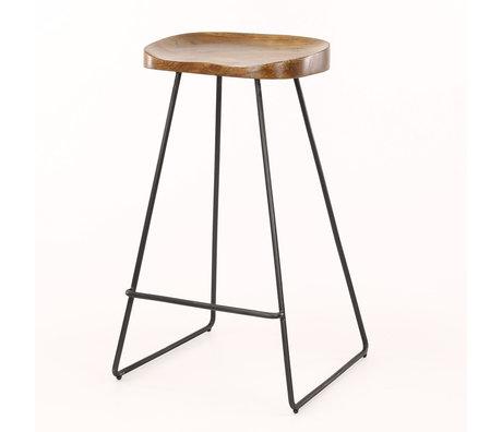 Wonenmetlef Tabouret Dave naturel brun bois noir bois métal 37x29x71cm