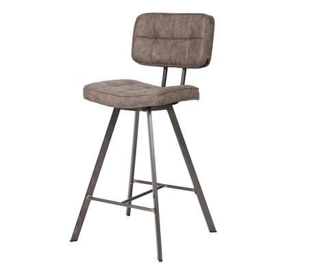 Wonenmetlef Bar stool Riley dark brown PU leather 43x55x98cm