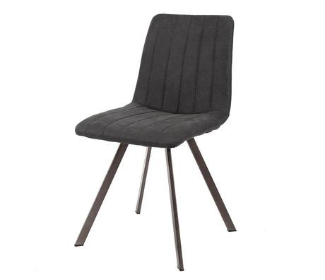 Wonenmetlef Chaise de repas Lois en métal textile gris anthracite 45x56x87cm