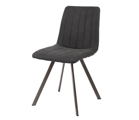 Wonenmetlef Dining chair Lois anthracite gray textile metal 45x56x87cm