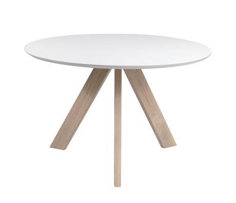 Wonenmetlef Tavolo da pranzo Bliss bianco naturale marrone legno Ø120x76cm