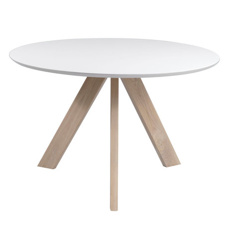 Wonenmetlef Table à manger Bliss blanc bois brun naturel Ø120x76cm