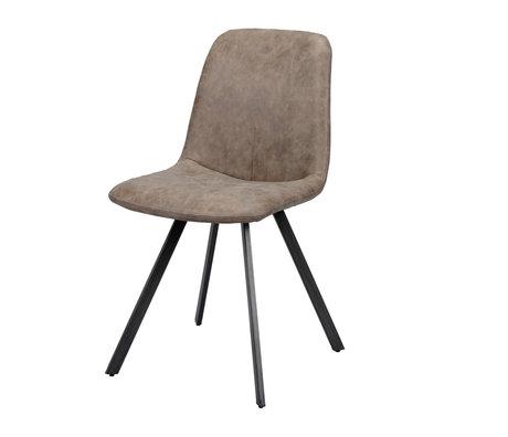 Wonenmetlef Chaise de salle à manger Fender cire marron foncé en cuir PU acier 45x55x86cm