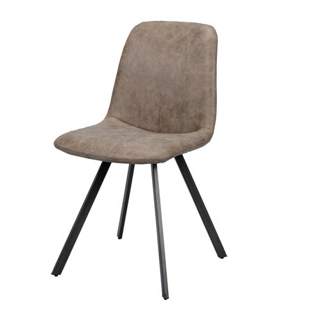 Wonenmetlef Dining chair Fender dark brown wax PU leather steel 45x55x86cm