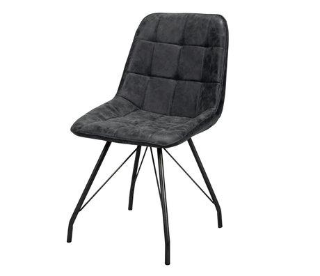 Wonenmetlef Chaise de salle à manger Lewis noire en cire PU cuir acier 50x60x89cm