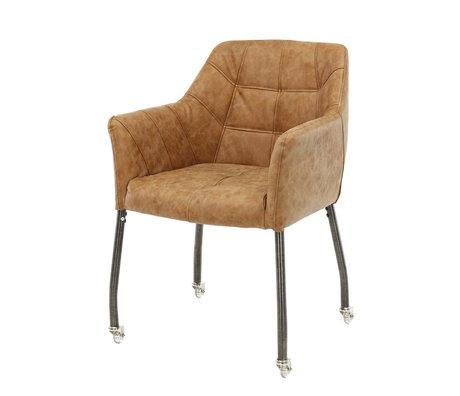 Wonenmetlef Bucket sæde med hjul Milo cowhide brun voks PU læder 59x62x82cm
