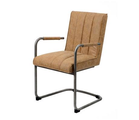 Wonenmetlef Chaise de salle à manger Bowie en peau de vache brune et cuir PU en acier inoxydable 54x61x88cm