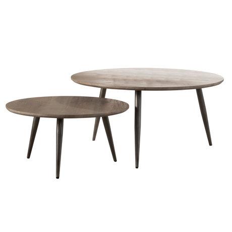 Wonenmetlef Tavolino da caffè Ivy greywash marrone in acciaio MDF set di 2