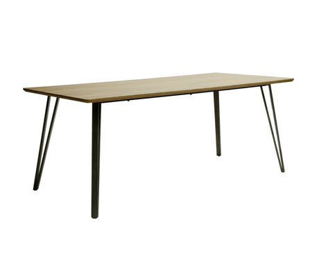 Wonenmetlef Table à manger Kris chêne brun MDF acier 240x100x76cm
