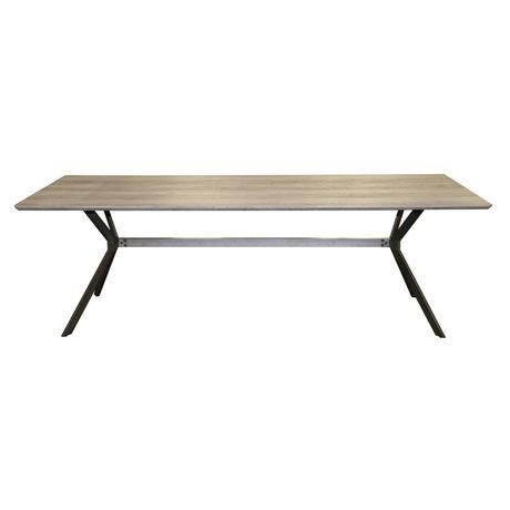 Wonenmetlef Table de repas Juno greywash brun MDF acier 200x95x76,5cm