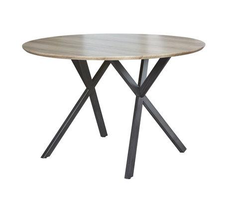Wonenmetlef Spisebord Mikki antikbrun MDF stål Ø120x76cm