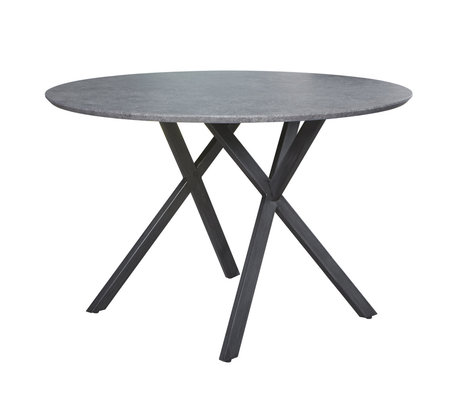 Wonenmetlef Dining table Mikki concrete look gray MDF steel Ø120x76cm