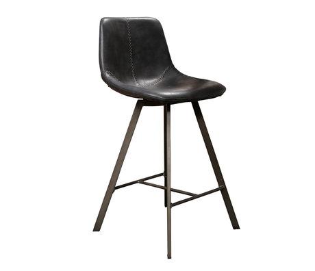 Wonenmetlef Tabouret Jean cuir PU noir métal 47x51x94cm