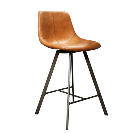 Wonenmetlef Barstool Jean cowhide brown black PU leather metal 47x51x94cm