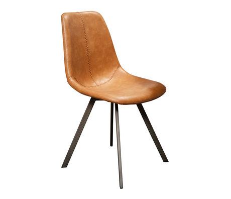 Wonenmetlef Chaise de salle à manger Jean en cuir de vachette brun noir PU cuir 47x58x87cm