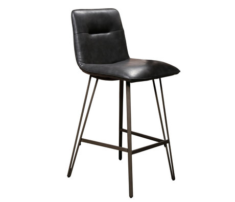 Wonenmetlef Bar stool Ally black PU leather metal 44x51x99cm