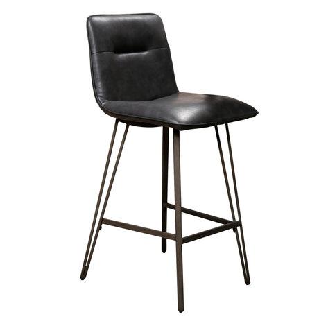 Wonenmetlef Tabouret de bar Ally en cuir PU noir métal 44x51x99cm