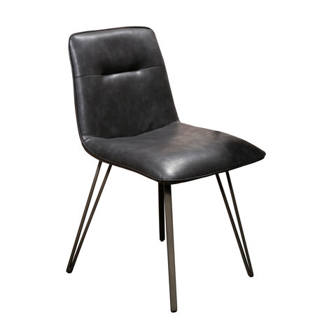 Wonenmetlef Chaise de salle à manger Ally en cuir PU noir métal 48x55x81cm