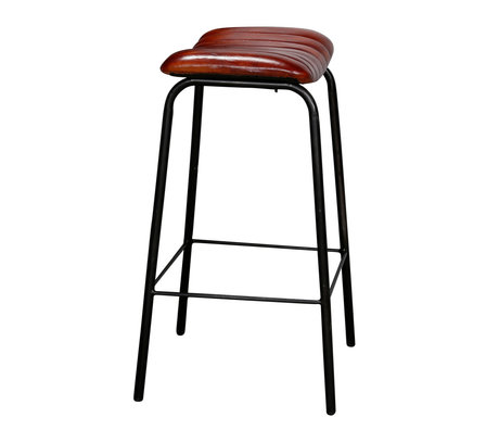 Wonenmetlef Barstool Bella brown black PU leather metal 41x41x70cm