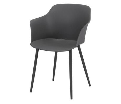 Wonenmetlef Chaise de salle à manger Elena en plastique gris acier 59x51x82cm