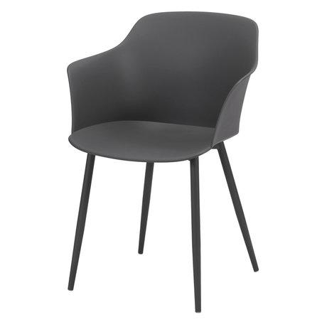 Wonenmetlef Dining chair Elena gray plastic steel 59x51x82cm