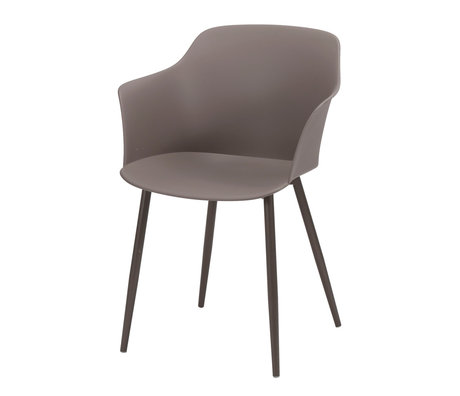 Wonenmetlef Dining chair Elena taupe brown plastic steel 59x51x82cm