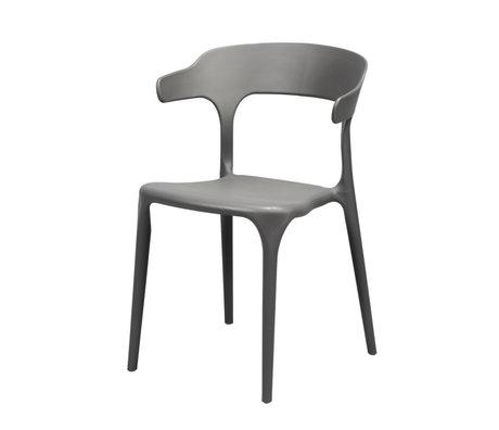 Wonenmetlef Chaise de salle à manger Feby (jardin) en plastique gris 52x52,5x77cm