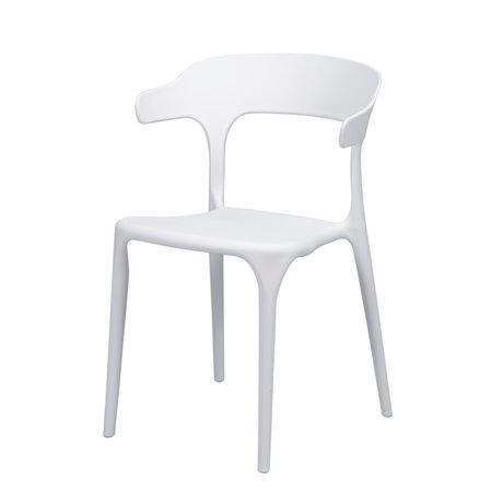 Wonenmetlef Chaise de salle à manger Feby (jardin) en plastique blanc 52x52.5x77cm