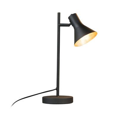 mister FRENKIE Lámpara de mesa Abel mate negro oro metal 25x13x45cm
