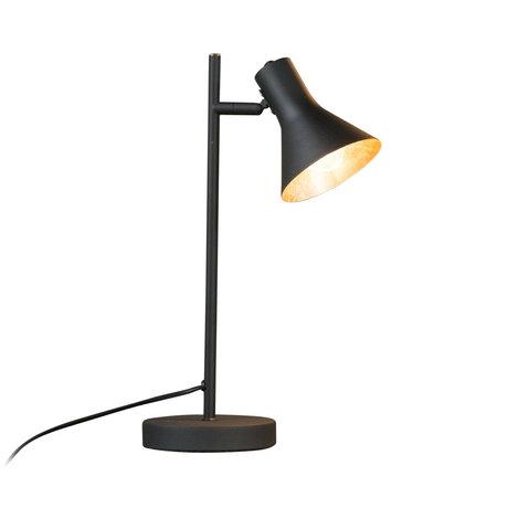 mister FRENKIE Lampe de table Abel mat en métal doré noir 25x13x45cm