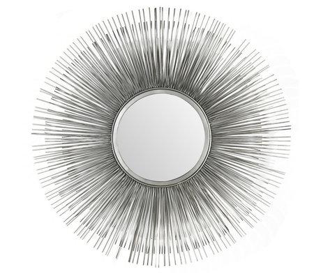 Wonenmetlef Specchio Sonny argento antico in vetro ferro Ø80cm