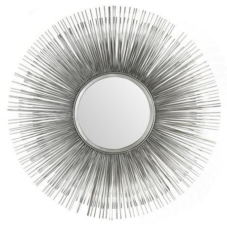 Wonenmetlef Mirror Sonny antique silver glass iron Ø80cm