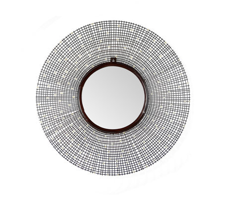 Wonenmetlef Specchio Nora finitura rame antico ferro vetro Ø65cm