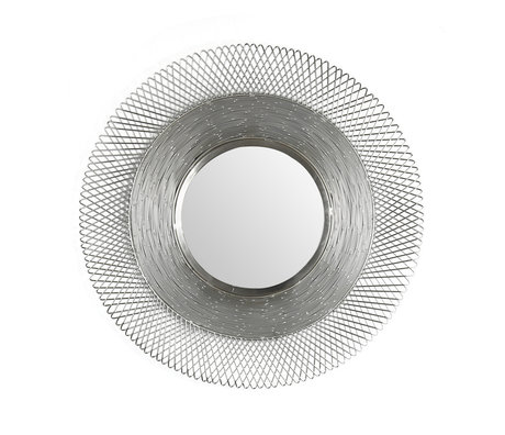 Wonenmetlef Specchio Lana nickel antico in ferro con vetro Ø65cm