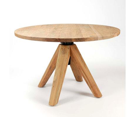 Wonenmetlef Mesa de comedor Eddie madera marrón natural Ø135x76-92cm