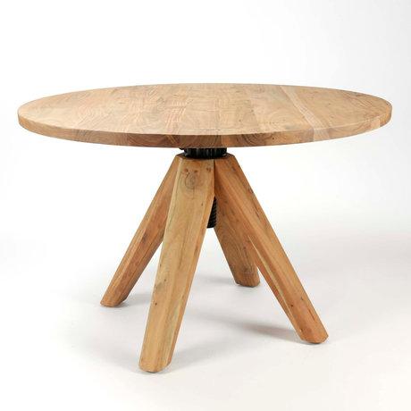 Wonenmetlef Spisebord Eddie naturbrunt træ Ø135x76-92cm