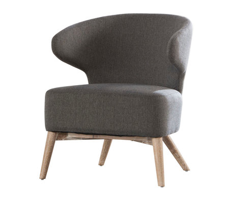 Wonenmetlef Armchair Valentine gray nature brown textile wood 62x64,5x73cm
