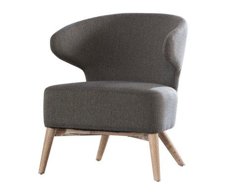 Wonenmetlef Fauteuil Valentine gris nature bois textile 62x64,5x73cm